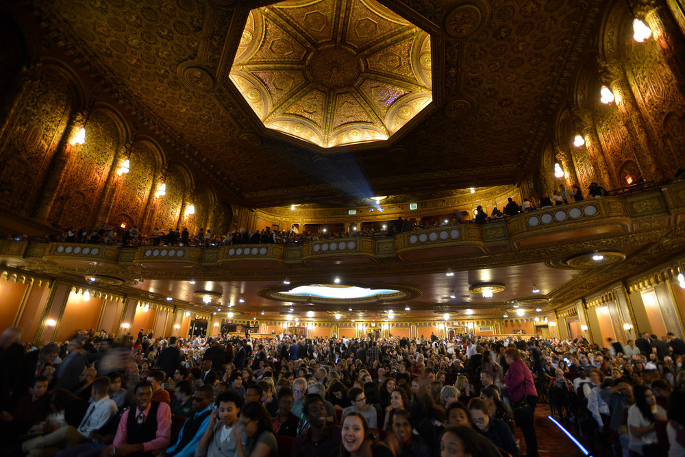 "Inside the Union Palace Theatre where the screening of ""Hamilton's America"" was held. Almost 1000 people we in attendance for the screening.  ©Stephanie Berger"
