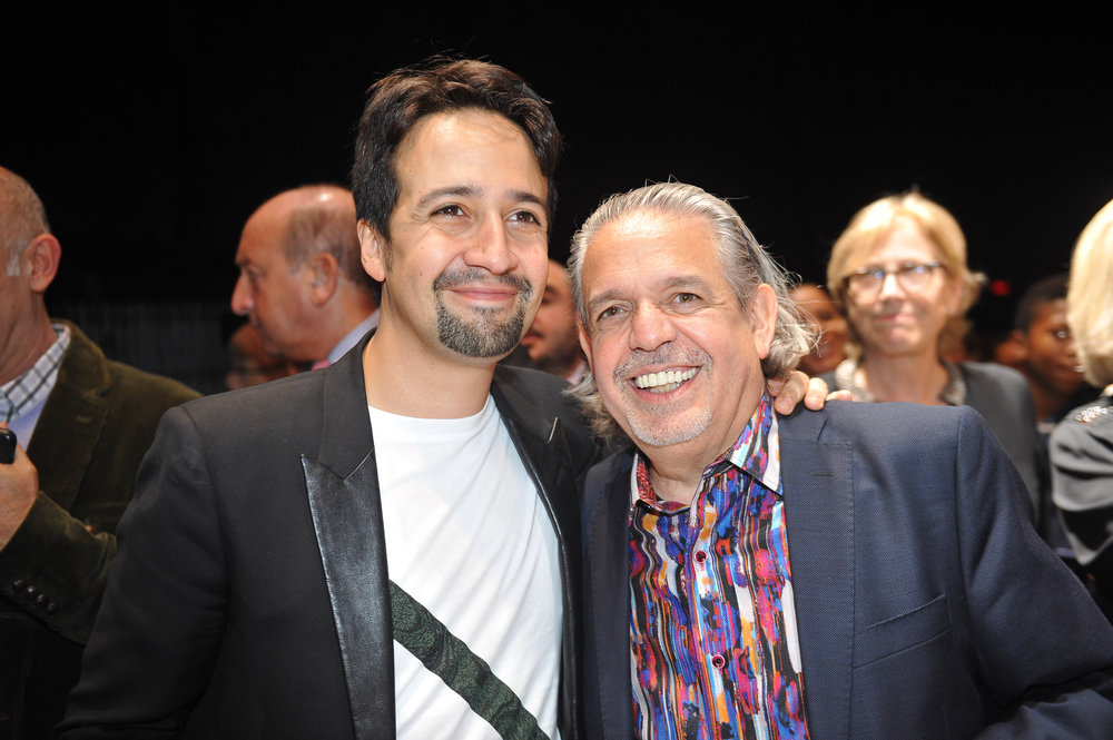 "Lin-Manuel Miranda and father Luis A. Miranda at the official screening of ""Hamilton's America"" at the Union Palace Theatre in Washington Heights.  ©Stephanie Berger"