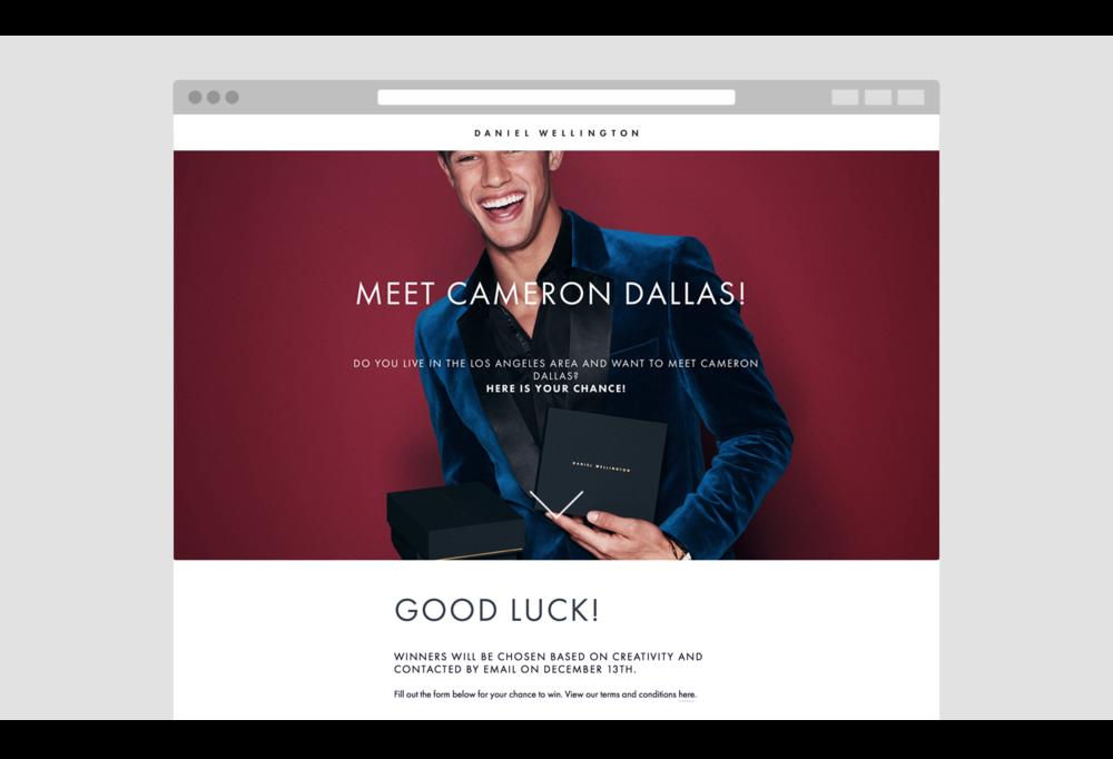 DAniel Wellington - Lead Generation page.