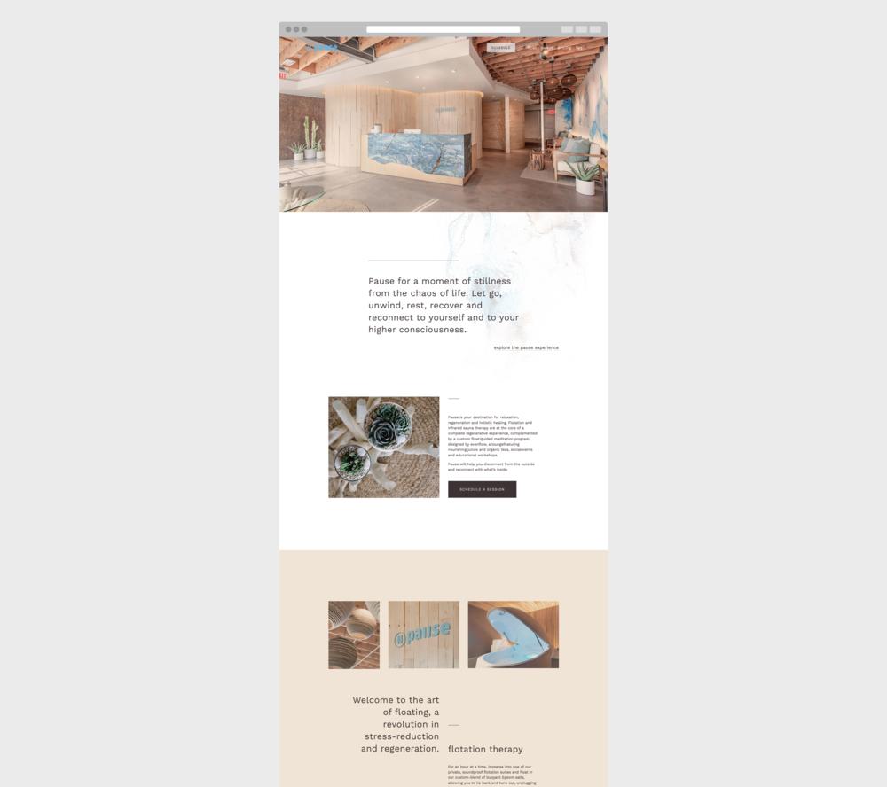 Pause Float Studio Homepage