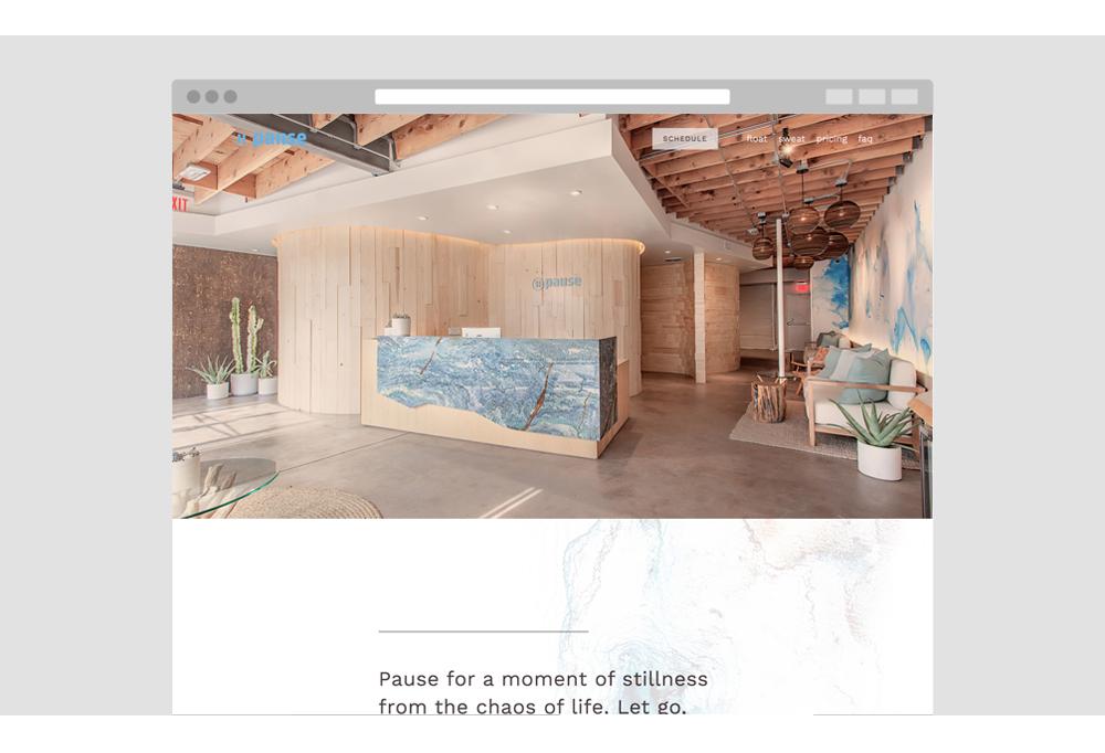 Pause Float Studio - spa website.