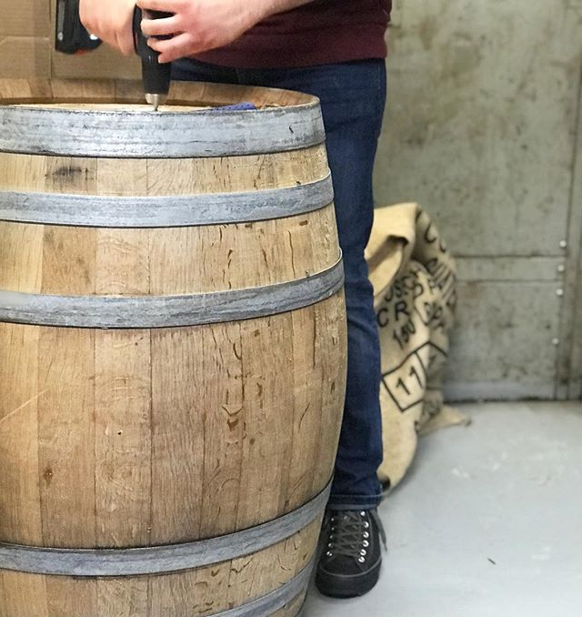 Our roasting manager, Andrew is getting into our Pinot Noir Barrel supplied by @eolahills! We're getting ready to age our Misty Valley, Ethiopia Yirgacheffe for about a week, just in time for Rhapsody in the Vineyard Corvallis wine walk! @coffeecultureor will be hosting @eolahills, they'll be pouring wine and if all goes well, we'll be sampling out the first round of this barrel aged coffee!