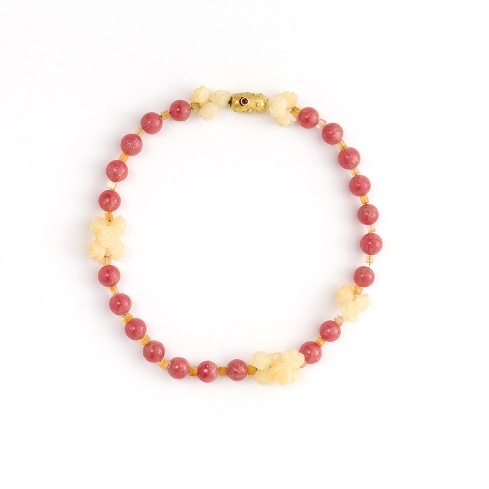 Yellow Roses and Rhodocrosite Necklace