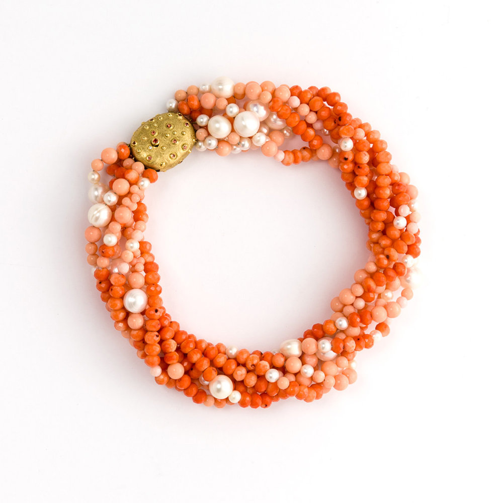 Versatile Coral and Pearl Torçade Necklace