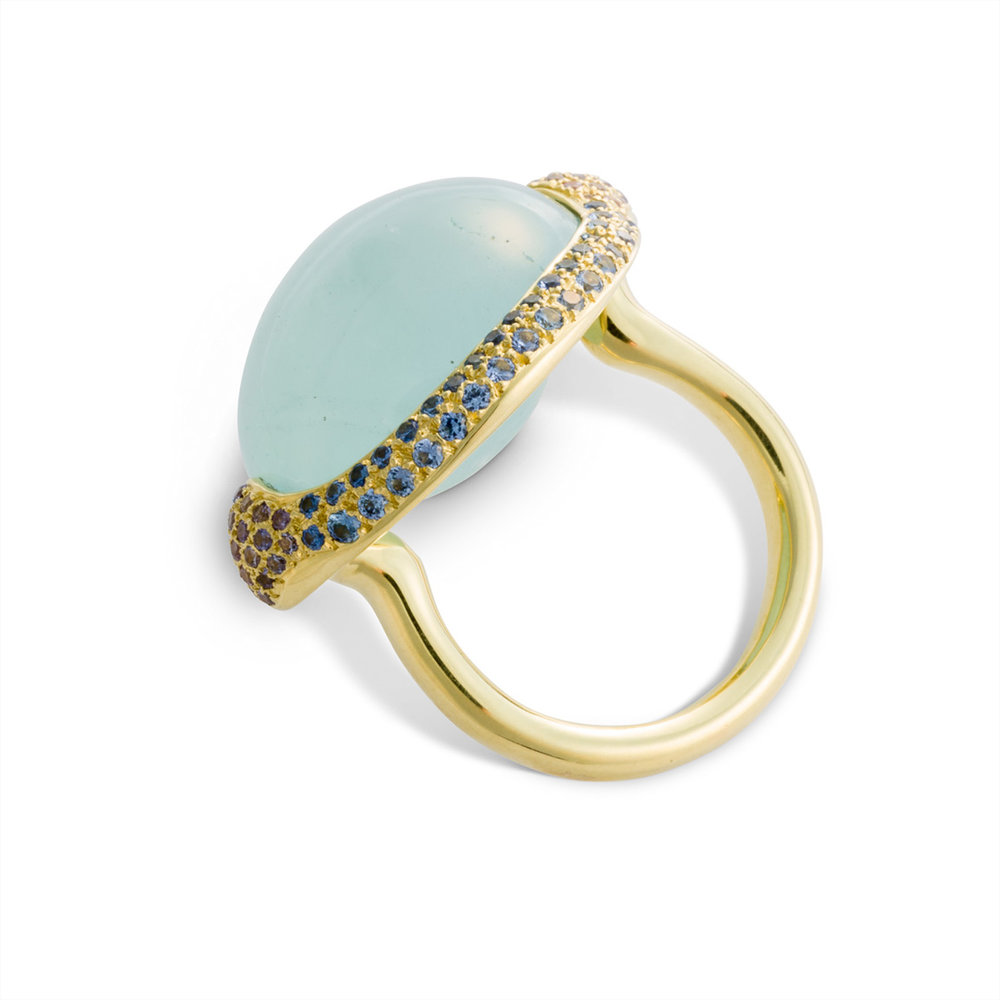 Blue-Pastel Aquamarine Cabochon Ring