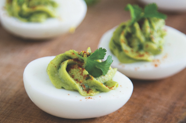 Healthy Living Now, Healthy Living Now Magazine, Healthy Living Now Spring 2017, Healthy Living Now Magazine Spring 2017, Wellness, Recipe, Guacamole Deviled Eggs, Carolyn Coffin