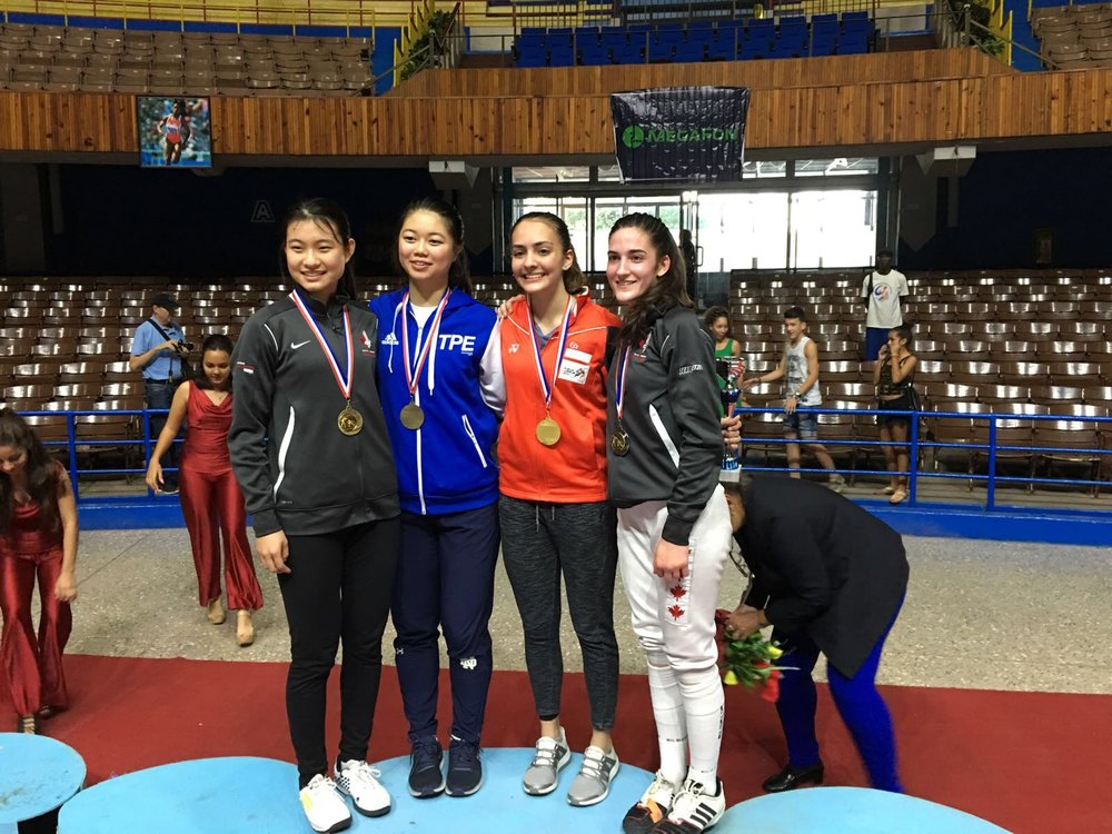 In photo, from left to right: Ying CAO (CAN), Xiao-Qing Tsai (TPE), Amita Berthier (SGP), Naomi MOINDROT-ZILLIOX (CAN). Congratulations to the medallists!