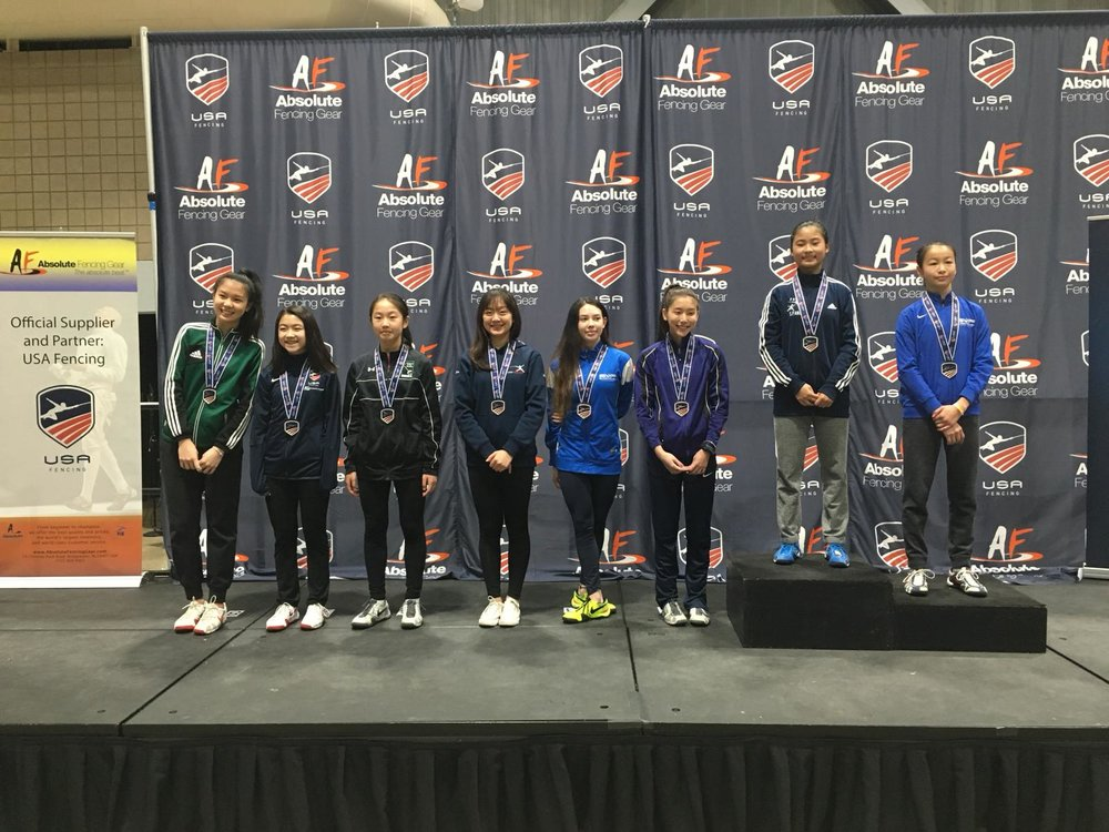 Fourth from left: Alexandra Jing, 5th in Y14 Women's Foil.