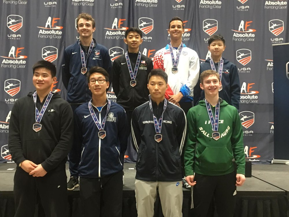 Top row, first from right: Brandon Li, 2nd in Cadet Men's Foil.