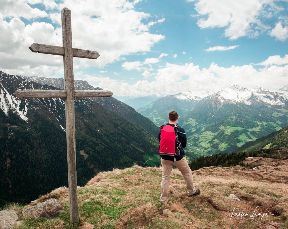 Reached the Top - View from Jaufenpass to Kolbenspitze in South Tyrol