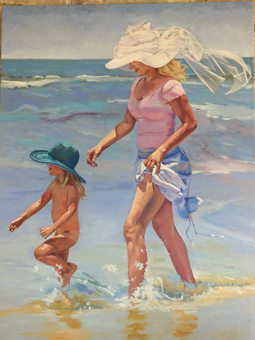 "A Day at the Beach   As my mom always sang to me, ""Summertime, and the livin' is easy."" Just by happenstance, so many of the commissions I've received are set on the water. I've really enjoyed painting the effects of sunlight on the skin and the reflections in the water."