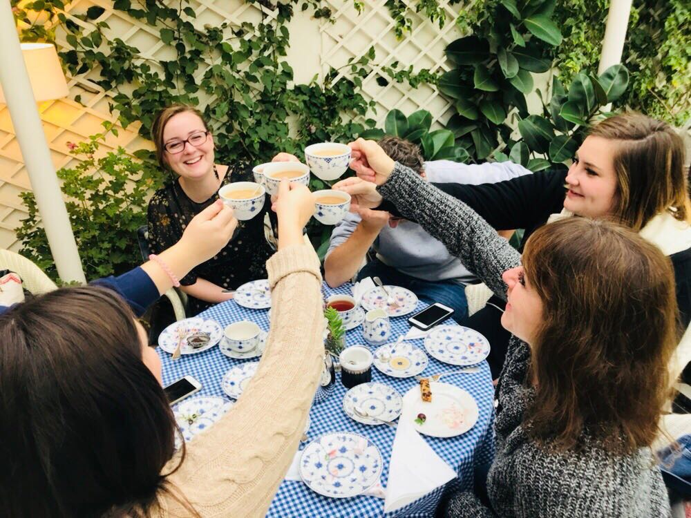 "A toast at ""high"" tea."