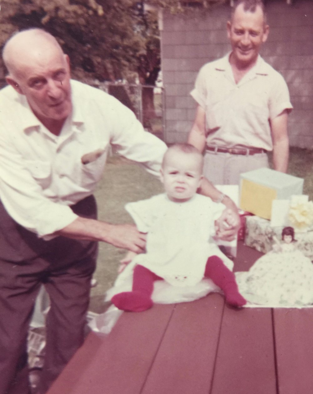 My beloved grandfather, Obie Rambin, me and my other wonderful grandfather, Paul Kincaid, on my first birthday.