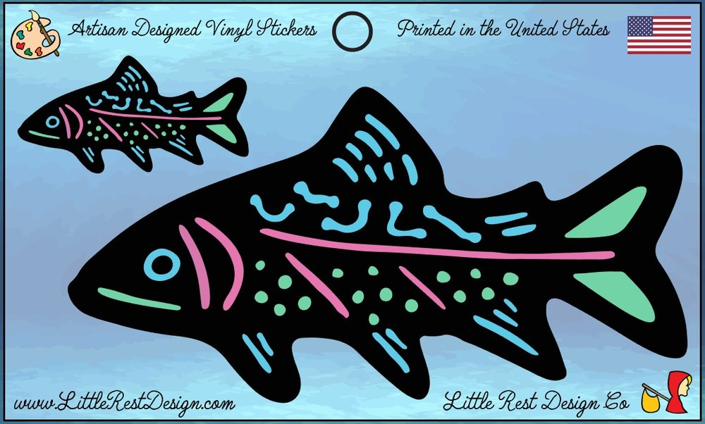 Brook Trout                                      MSRP: $3.00 USD   Product SKU: BT100  Format: Double Sticker Sheet measuring 5 by 3 Inches