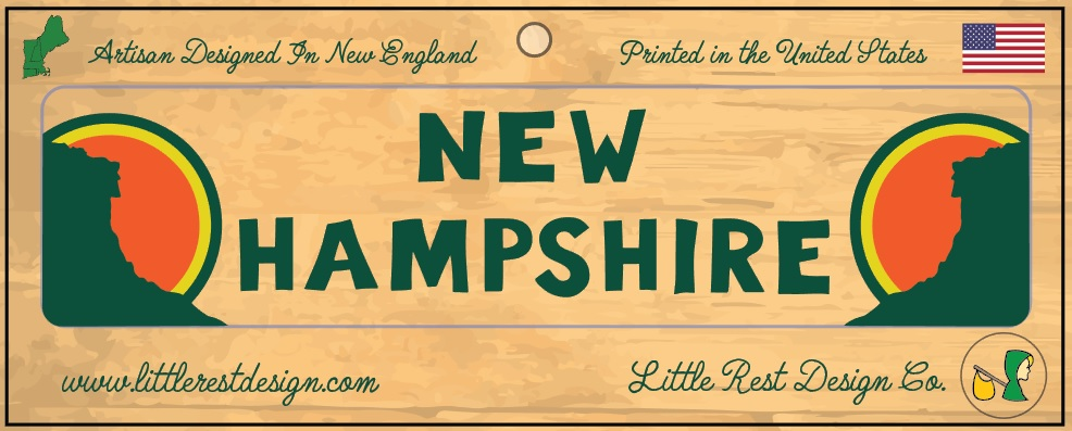 New Hampshire Bumper Sticker          MSRP: $3.00 USD   Product SKU: NHBS100  Format: Single Sticker Sheet measuring 9 by 3.5 Inches