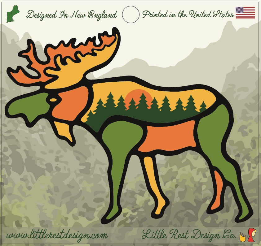 Forest Moose                                      MSRP: $3.00 USD   Product SKU: FM100  Format: Single Sticker Sheet measuring 4 by 3.75 Inches