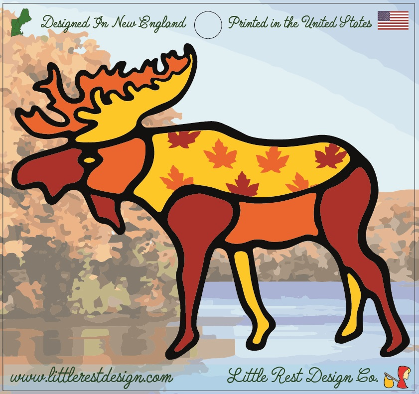 Autumn Moose                                    MSRP: $3.00 USD   Product SKU: AM100  Format: Single Sticker Sheet measuring 4 by 3.75 Inches