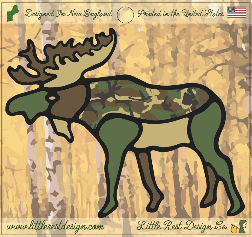 Camo Moose                                       MSRP: $3.00 USD   Product SKU: CM100  Format: Single Sticker Sheet measuring 4 by 3.75 Inches