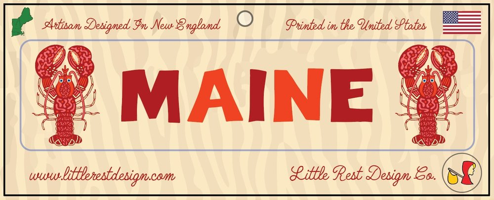 Maine Lobster Bumper Sticker            MSRP: $3.00 USD   Product SKU: MLBS100  Format: Single Sticker Sheet measuring 9 by 3.5 Inches