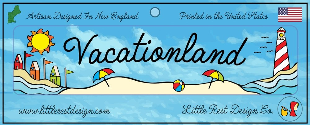 Vacationland Bumper Sticker              MSRP: $3.00 USD   Product SKU: VBS100  Format: Single Sticker Sheet measuring 9 by 3.5 Inches