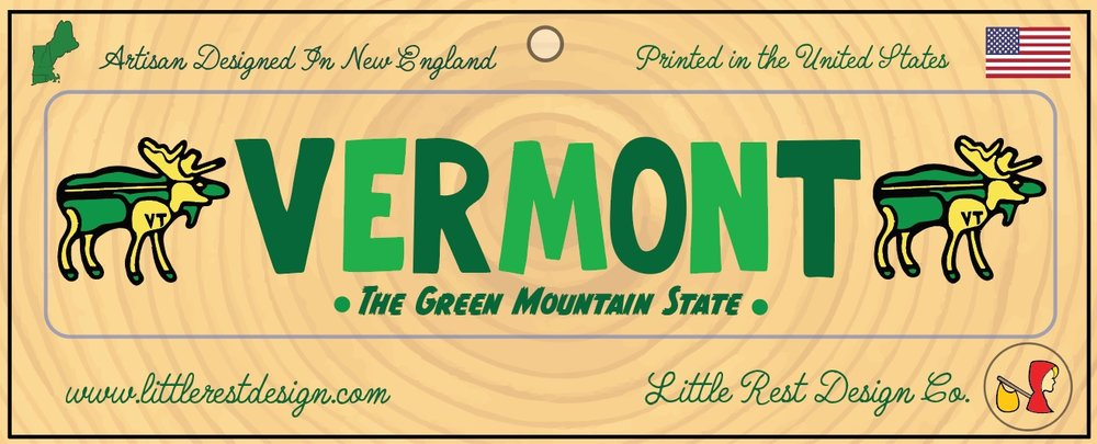 Vermont Moose Bumper Sticker          MSRP: $3.00 USD   Product SKU: VM100  Format: Single Sticker Sheet measuring 9 by 3.5 Inches