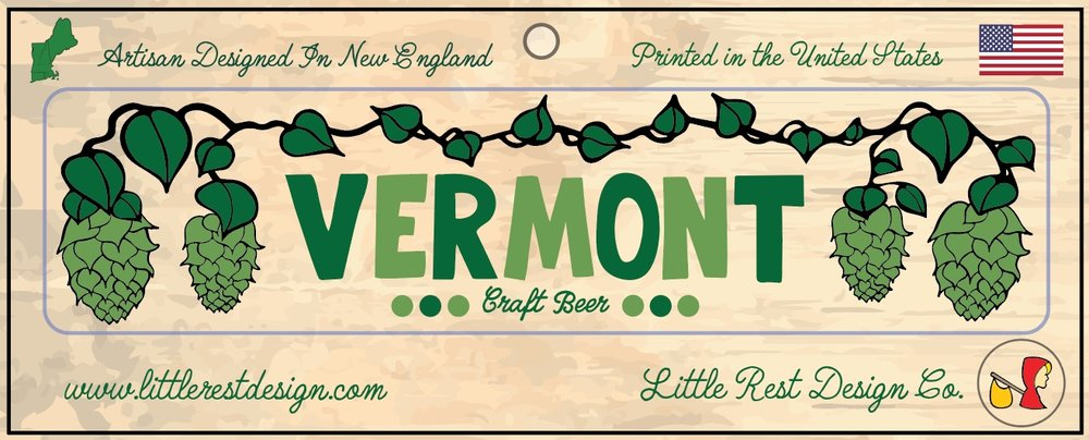 Vermont Craft Beer Bumper Sticker     MSRP: $3.00 USD   Product SKU: RBS100  Format: Single Sticker Sheet measuring 9 by 3.5 Inches