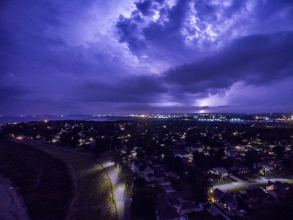 Lightning striking Bridgeport with Lordship and Russian Beach in the foreground.