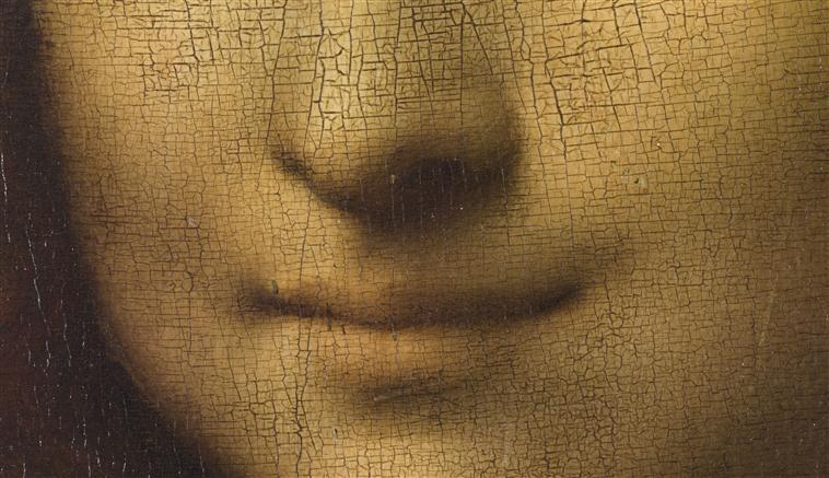 Detail of  Mona Lisa 's smile, including craquelure