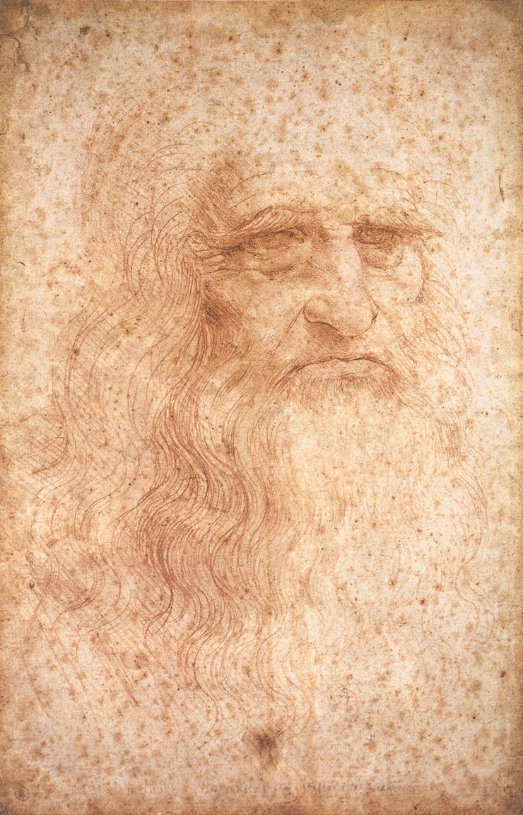Leonardo da Vinci, Presumed Self-Portrait, c. 1512, red chalk on paper, 333 x 213 mm, Biblioteca Reale, Turin.