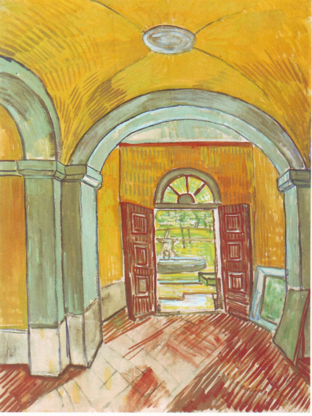 Entrance Hall of Saint-Paul Hospital, 1889, Black chalk, brush and thinned oil on pink paper, Van Gogh Museum