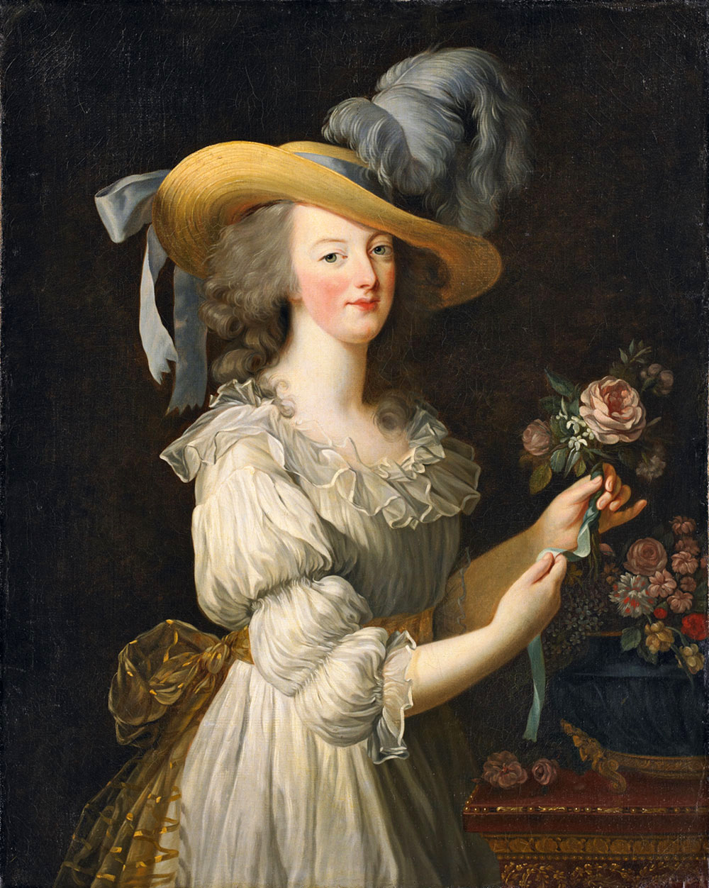 Elisabeth Vigée Lebrun, Marie Antoinette in a Muslin Dress, 1793, oil on canvas, Schloss Wolfsgarten