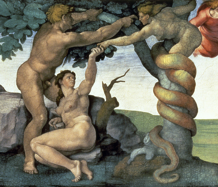 Michelangelo, the Temptation of Adam and Eve from the Sistine Chapel Ceiling, painted 1508-1512