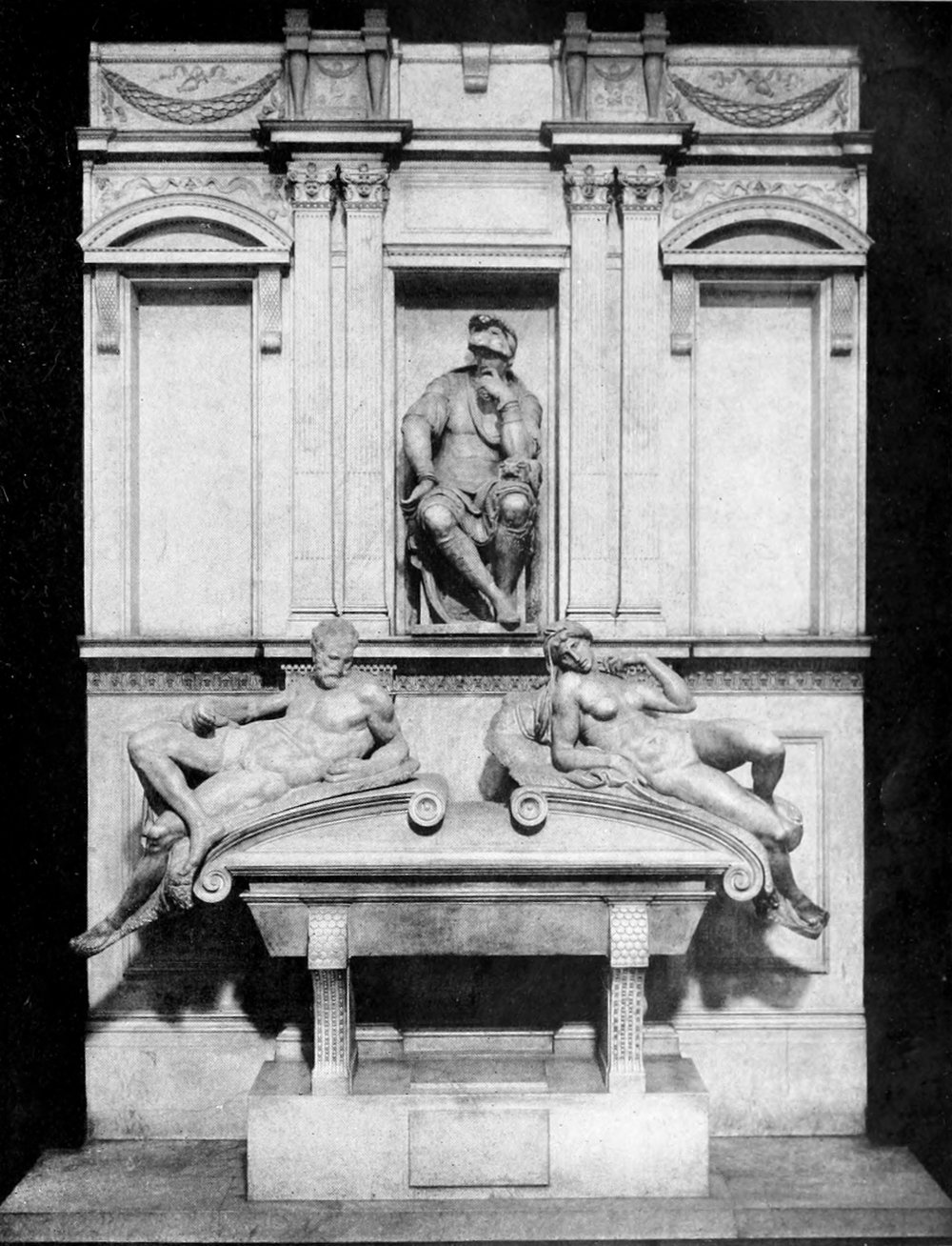 Michelangelo, Tomb of Lorenzo di Piero de' Medici with Dusk and Dawn, 1533, Florence, Italy