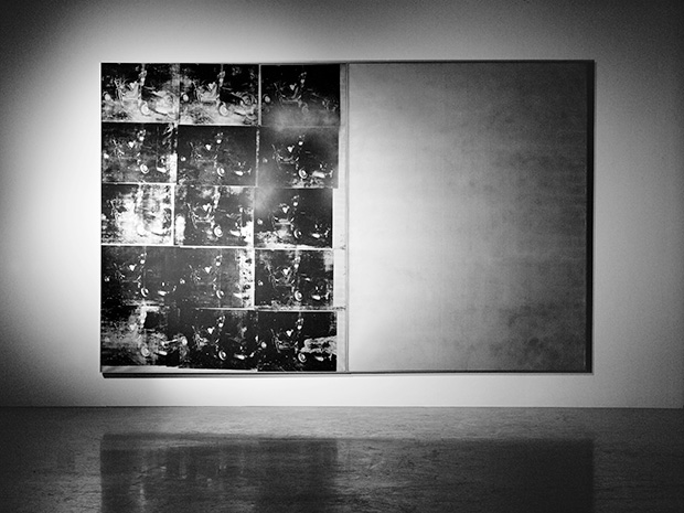 Andy Warhol, Silver Car Crash (Double Disaster), 1963, acrylic screenprint on canvas, 8 by 13 feet, private collection.