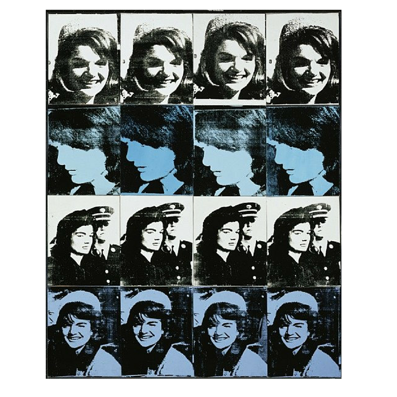 Andy Warhol, 16 Jackies, 1964, acrylic screenprint on canvas