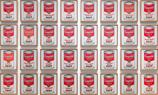 Andy Warhol, 32 Soup Cans, 1961-62 Synthetic polymer paint on thirty-two canvases, each 50.8 x 40.6 cm. The National Gallery of Art, Washington, DC