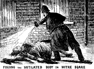 """Finding the Body in Mitre Square,"" as shown in the The Illustrated Police News (around 1888)."