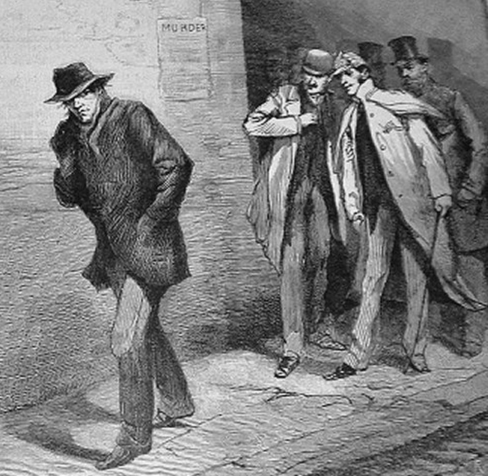 The Vigilance Committee tailing a possible Ripper suspect. Image taken from Illustrated London News. Originally published in London, 1888.