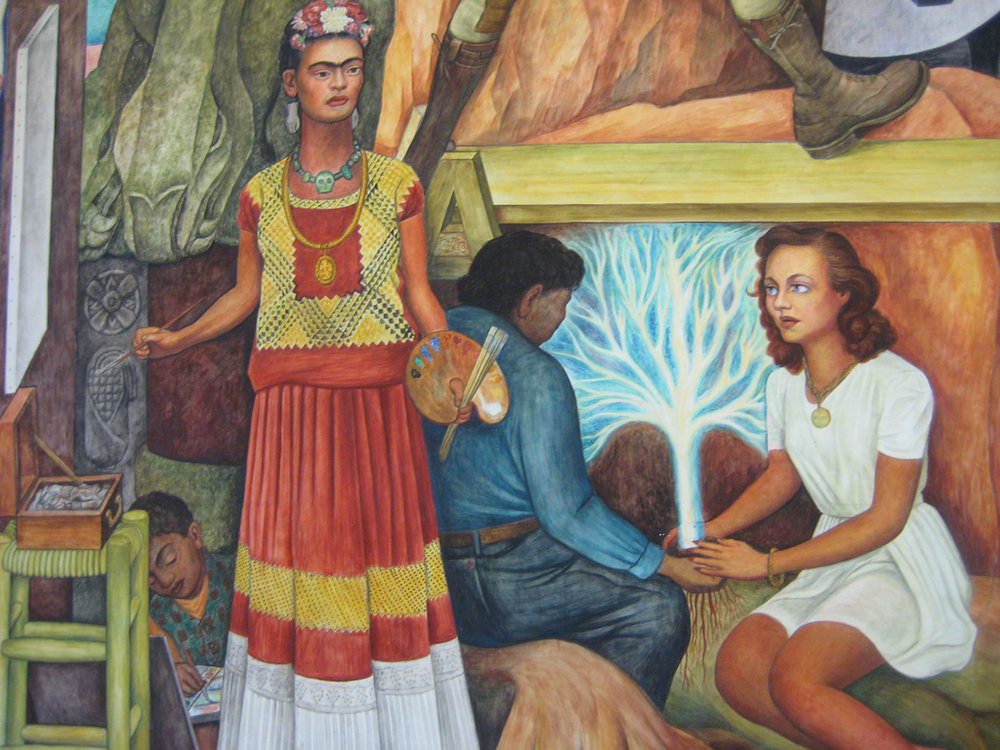 Frida (left) and Paulette (right) featured in Diego Rivera's Pan American Unity mural