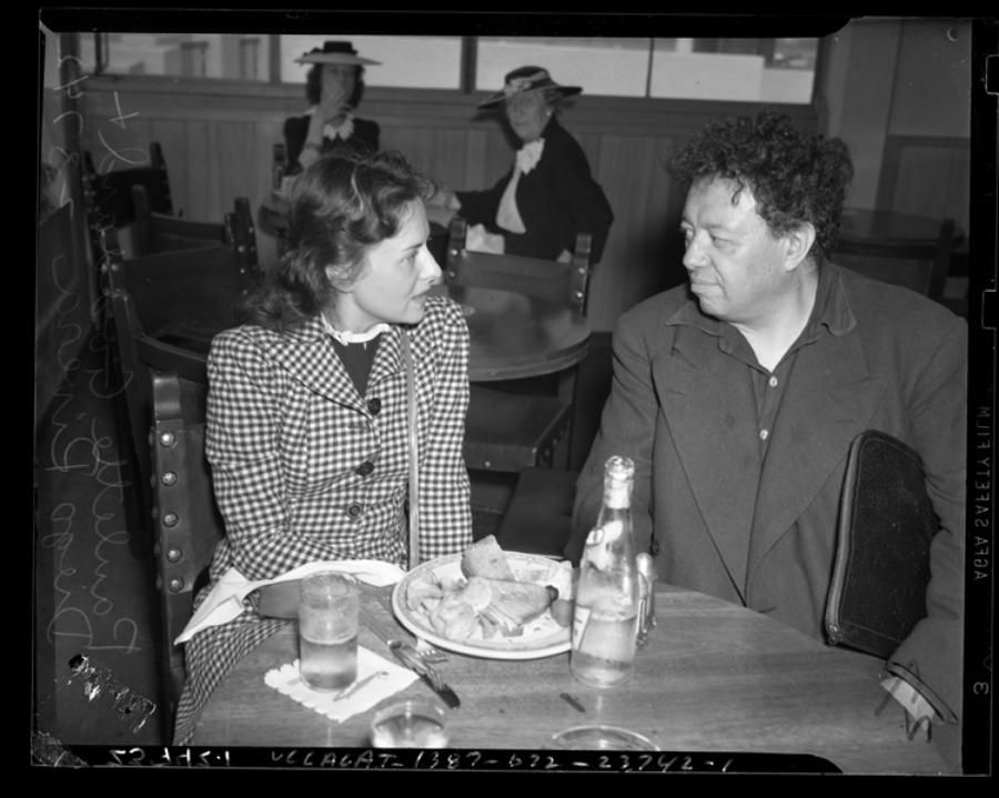 Paulette Goddard with Diego Rivera