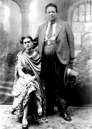 Frida and Diego's wedding portrait, 1929
