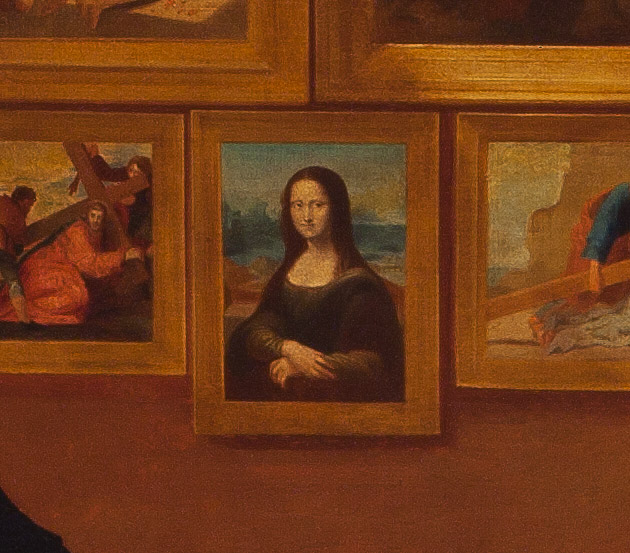 Detail of the Mona Lisa in The Gallery of the Louvre