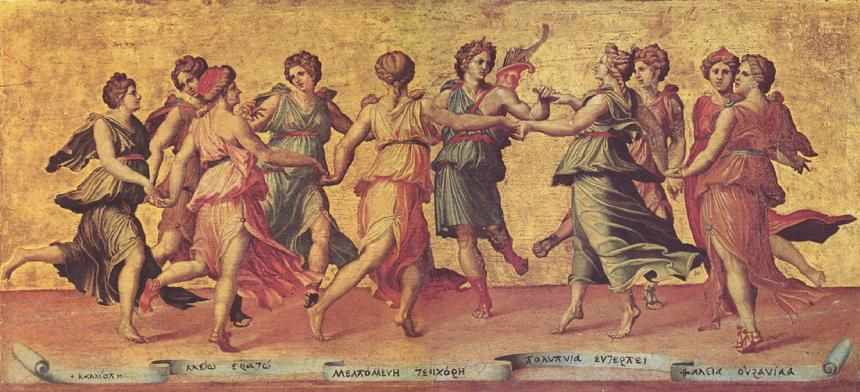 Giulio Romano's depiction of the Muses in Dance of Apollo and the Muses, 1540