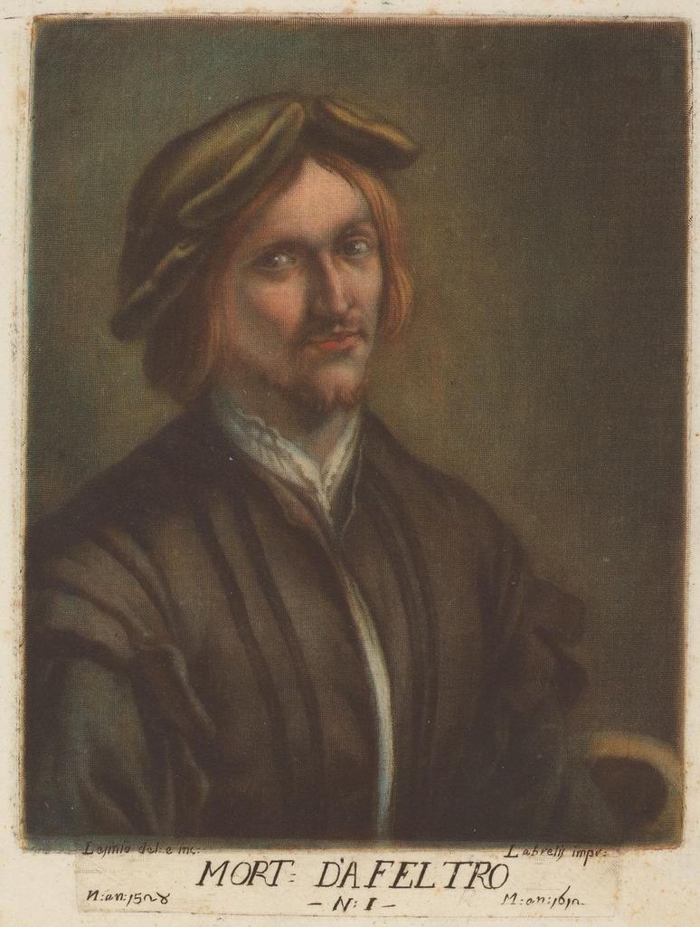 Carlo Lasino, after Lorenzo Luzzo, Portrait of Morto da Feltre, color mezzotint, ca. 1789