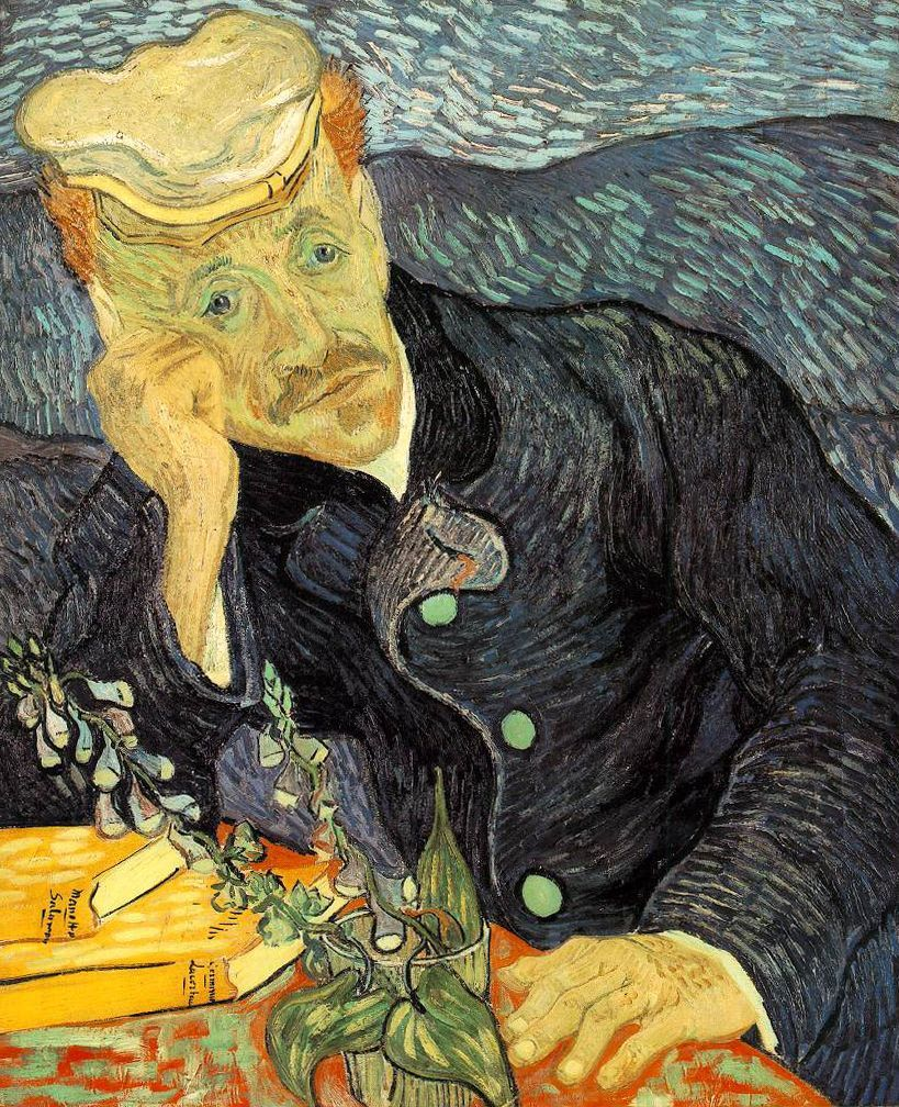 Vincent van Gogh, 	Portrait of Dr. Gachet, 1890, Oil on canvas, 23.4 in × 22.0 in, Private collection