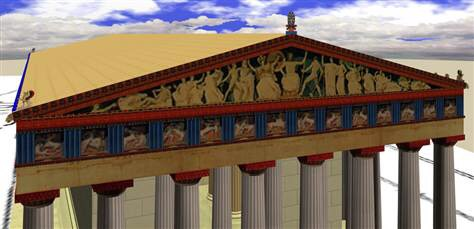 Computer Simulation of the Original Appearance of the Parthenon, Ancient Greece