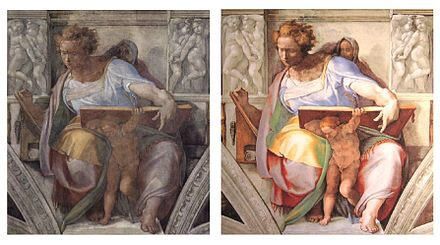 Michelangelo's Daniel, before restoration (left) and after restoration (right)
