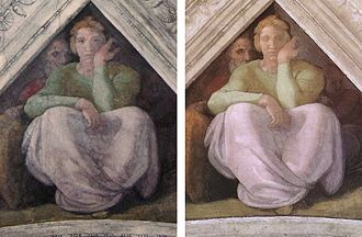 Michelangelo's Jesse Spandrel from the Sistine Chapel-- note that some details, including Jesse's eyes, are now missing, post-restoration (right)