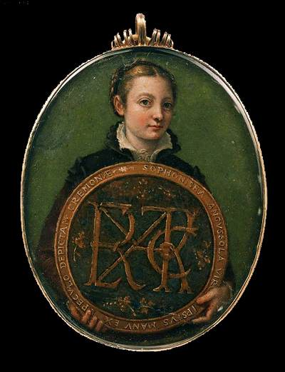 Sofonisba Anguissola, Self-Portrait holding a medallion with the Letter's of her Father's Name, early 1550s.