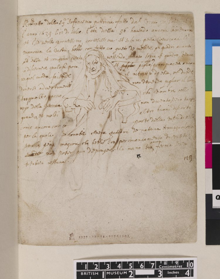 Anthony van Dyck, sketchbook page featuring drawing of Sofonisba Anguissola, 1624.